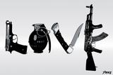 Love (Weapons) Black & White Autocollant mural par  Steez