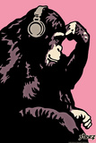 Monkey Thinker - Pink Plastic Sign by  Steez
