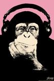 Headphone Chimp - Pink Autocollant par  Steez