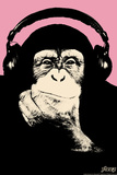 Headphone Chimp - Pink Wall Decal by  Steez