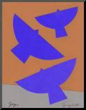 Three Birds Celebrating Joy Mounted Print by Jerry Kott