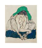 Crouching Woman with Green Headscarf Reproduction procédé giclée par Egon Schiele