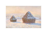 Wheatstacks, Snow Effect, Morning, 1891 Giclee Print by Claude Monet