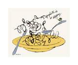 Spaghetti is So Slippery, c. 1958 Giclée-tryk af Andy Warhol
