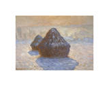 Haystacks: Snow Effect, 1891 Giclee Print by Claude Monet