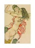 Two Women Embracing Reproduction procédé giclée par Egon Schiele
