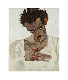 Self-Portrait with Lowered Head Giclee Print by Egon Schiele