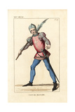 French Soldier in the Infantry of a Crusading Lord, 14th Century Giclee Print by Leopold Massard