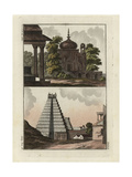 Indian Tomb with Dome and Indian Stepped Pagoda Giclee Print by Robert von Spalart