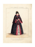 Lady in Domino Cape and Mask, Holding a Fan, Victorian Era Giclee Print by Thomas Hailes Lacy