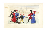 Nobles Playing the Game of Tag, 14th Century Giclee Print by Leopold Massard