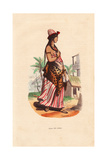 Arabian Girl in Hat, Striped Dress, Animal Skin, Earrings and Bracelets Giclee Print by H. Hendrickx