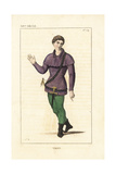 French Royal Valet in Hunting Wear, 14th Century Giclee Print by Leopold Massard