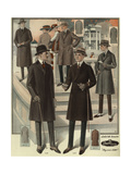 Men in Box and Fly-Front Overcoats from the 1920s Giclee Print