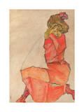 Kneeling Female in Orange-Red Dress, 1910 Reproduction procédé giclée par Egon Schiele