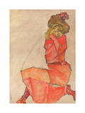 Kneeling Female in Orange-Red Dress, 1910 Giclee Print by Egon Schiele