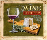 Market Wine & Cheese Art by Angela Staehling