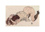 Kneeling Girl, Resting on Both Elbows Giclee Print by Egon Schiele