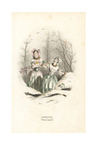 Snowdrop and Cowslip Flower Fairies Giclee Print by Jean Ignace Grandville