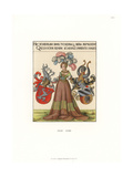 Noble Woman of Nuremberg Holding Coats of Arms, 16th Century Giclee Print by Jakob Heinrich Hefner-Alteneck