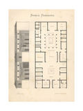Floor Plan and Elevation of a Luxurious House in Pompeii Giclee Print by Emil Presuhn