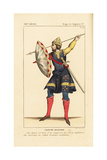 Military Costume of a Norman Soldier, 12th Century Giclee Print by Leopold Massard