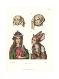 Women's Headdresses from the Late 15th Century Giclee Print by Jakob Heinrich Hefner-Alteneck