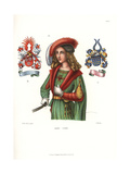 Costume of a Young German Nobleman and Coats of Arms, 15th Century Giclee Print by Jakob Heinrich Hefner-Alteneck