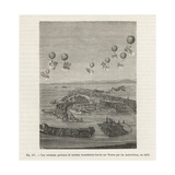 Austrian Military Balloons Dropping Incendiary Bombs on Venice Giclee Print