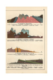 Geological Cross-Sections of Black Forest, South Tyrol, Vesuvius Giclee Print