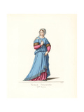 Costume of an Italian Noblewoman, 14th Century Giclee Print by Paul Mercuri
