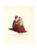 Italian Noble Woman Playing a Harp, 14th Century Giclee Print by Paul Mercuri