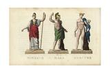 Minerva, Mars, and Mercury, Roman Gods Giclee Print by Leonard Defraine