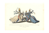 Joust with Swords Between Knights at a Tournament, 15th Century Giclee Print by Paul Mercuri
