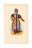 Yakut Woman Wearing Earrings, Fur-Lined Coat Decorated with Beads Giclee Print by A. Vangauberche