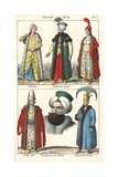 Turkish Sultan, Sultana, Chief Black Eunuch and Harem Guard Giclee Print