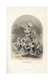 Oxeye Daisy Flower Fairies Wearing Flower Hats, Plucking Petals Giclee Print by Jean Ignace Grandville