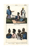 Women of Sudan in Striped Robes, Timbuktu, and Tibbo People Giclee Print