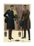 Men in Double-Breasted Coats Carrying Canes and Hats Giclee Print
