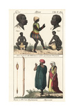 African Costumes: Griot Musicians, Dancer, and Abyssinians Giclee Print