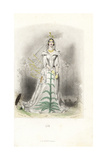 Lily Flower Fairy in White Dress with Veil Giclee Print by Jean Ignace Grandville