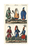 Costumes of Algiers; Jewish Couple, Moor, National Guard and Divan Giclee Print