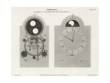 Dial Work of a Clock Showing the Moon Age, Lunar Phase, Etc Giclee Print by J. Farey