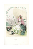 Rose Flower Fairy, Rosa Centifolia, with Rosebud Crown Giclee Print by Jean Ignace Grandville