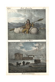 Eskimo or Inuit Man Riding a Raft, and Huts with Sled and Dogs Lámina giclée