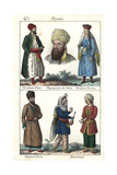 Costumes of High-Ranking Persian Men and Women, and Commoners Giclee Print
