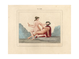 Fresco from Pompeii, Faun and Bacchante Giclee Print by A. Delvaux