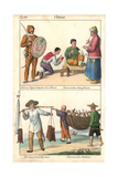 Costumes of China: Tiger Guard, Monk, Barber and Bird Fishermen Lámina giclée