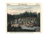 Village on Vancouver Island, Canada, Houses and Canoes Giclee Print