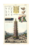 Chinese Flag, Women's Shoes, Porcelain Pagoda at Nanking (Nanjing) Giclee Print
